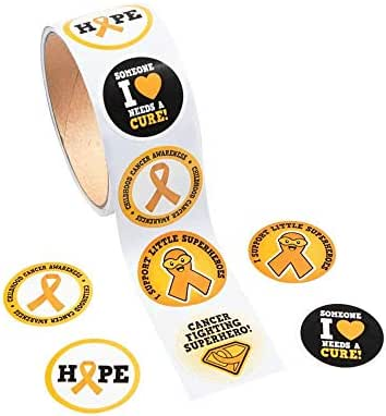 1 Roll ~ Childhood Cancer Stickers ~ 100 Round 1.5