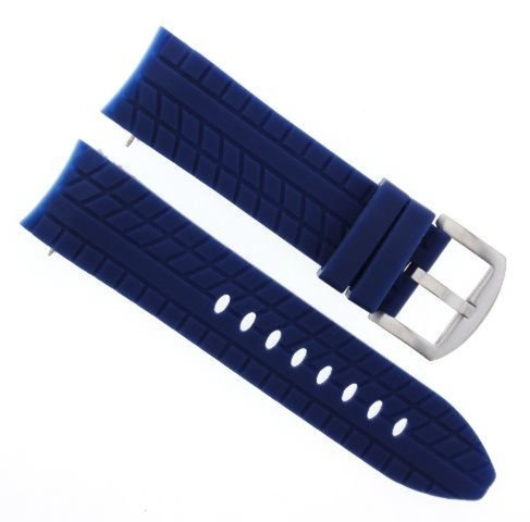 24MM RUBBER WATCH BAND STRAP FOR 48MM GRANDEUR CHRONOGRAPH TW129 TW 129 BLUE 48mm Grandeur Watch