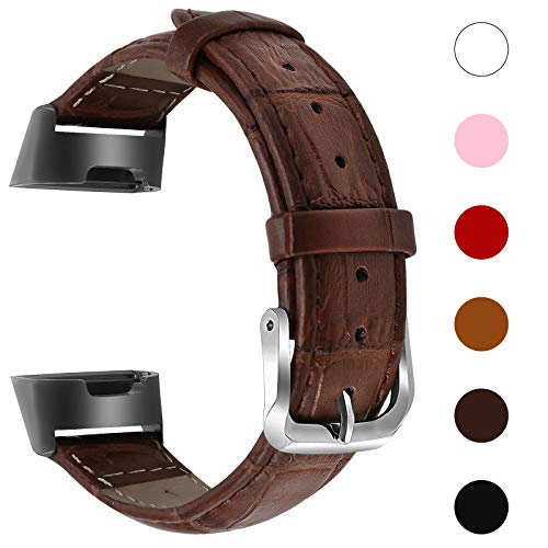 Issmolog for Fitbit Charge 3 Bands, Classic Genuine Leather Wristband Replacement with Stainless Steel Connector Compatible for Fitbit Charge 3 Women Men (Brown)