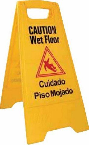 Winco WCS-25 2-Sided Wet Floor Caution Sign, Yellow