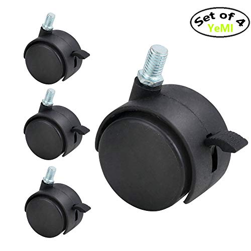 (Caster Wheels 3/8 Threaded Stem 2 Inch,Lockable Caster Heavy Duty Nylon Wheels for Plant Stand Set of 4,220Lbs Work Load)