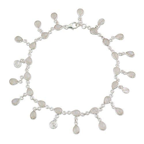 Silver Sterling Bracelet Spiral (NOVICA Rainbow Moonstone Teardrop Spiral .925 Sterling Silver Charm Anklet, 11.25