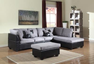 GTU Furniture Microfiber Sectional Couch Sofa Living Room Set, 3 Color Available (With Ottoman, (Microfiber Sectional Set)