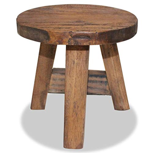 Festnight Stool Reclaimed Wood Round Stool with Footrest Bistro Pub Chair Step Stool 7.9