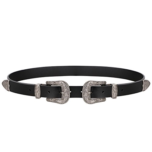 Ladies Western Cowhide Leather Belt Women Vintage Dresses with Double Metal Silver Buckles Fashion Designer Belt Fits 35