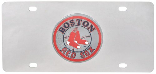 Mlb Stainless Steel License Plate (Boston Red Sox Stainless Steel Logo License)