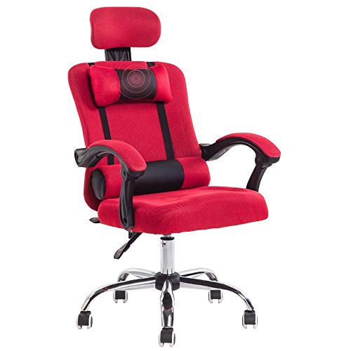 Racing Seat Reclining Cloth - Axdwfd Reclining Chair, Computer Chair, Home Office Chair, Mesh Cloth, Staff Chair, Lifting Swivel Chair, Reclining, Footrest, Leisure Seat, 6565110-120cm (Color : Red)