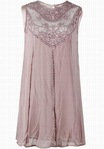Coffee Chiffon Mini Lace Dress Womens Line Stitching Domple Tank Casual Sleeveless A nxEPIq8P