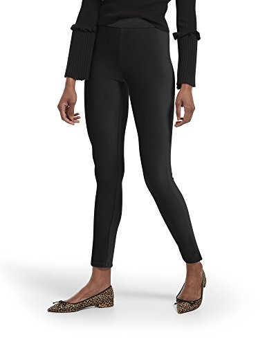 HUE Women's Corduroy Leggings, Assorted, High Waist-Black, M ()
