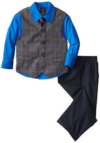 Vest Suit Set (Nautica Little Boys' Fancy Plaid Vest Set, Charcoal, 5)
