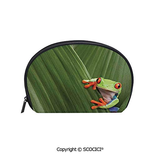 SCOCICI Printed Small Travel Toiletry Cosmetic Pouch Red Eyed Tree Frog Hiding in Exotic Macro Leaf in Costa Rica Rainforest Tropical Nature Photo Handy Daily Storage Makeup Bag