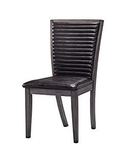 Elderton Black Ribbed Style Leather Dining Chair