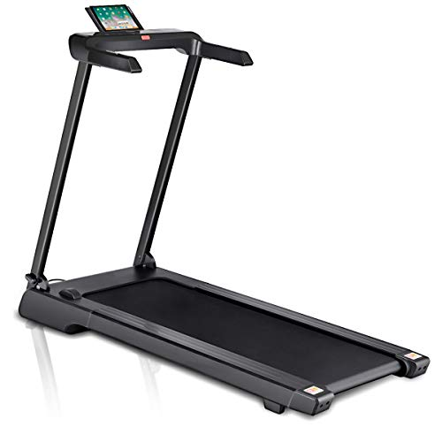 Goplus 2.25 HP Folding Treadmill Upgraded Free-Installation Electric Cardio Fitness Jogging Running Machine Portable Motorized Power Slim Treadmill with Sports App and LED Display (Black)