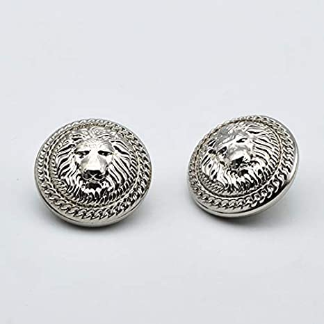 Silver, 0.59 inches Fashion Lion Head Metal Shank Buttons for Coats Gold//Silver, Pack of 6