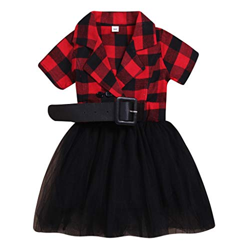 - ❤️ Mealeaf ❤️ Toddler Kid Baby Girl Plaid Tulle Patchwork Casual Princess Party Sundress Dress(Red,130)