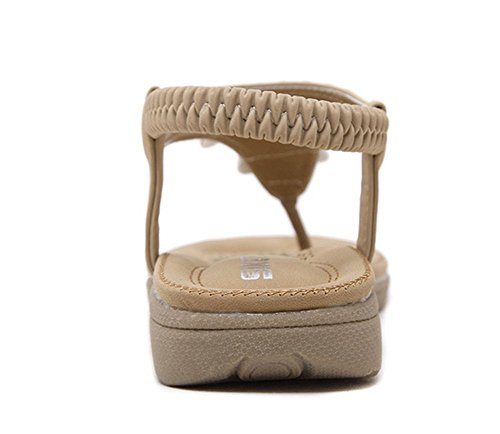 Chfso Femmes Boho Strass Plage Appartements Sandales Tongs Chaussures Abricot