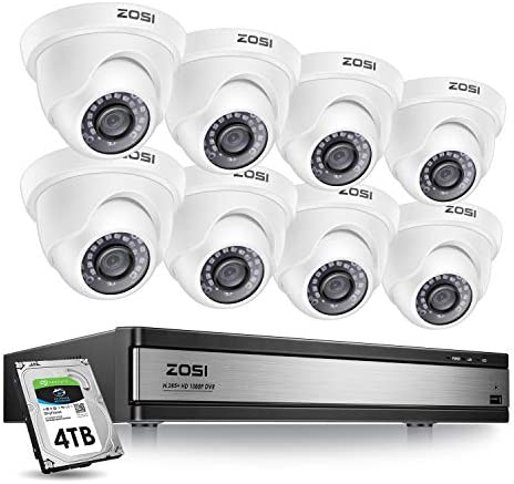 ZOSI 16 Channel 1080p Security System,16 Channel DVR 4TB Hard Drive Full HD 1080p Hybrid Recorder and 8 Outdoor Indoor CCTV Dome Camera 1080p with Long Night Vision and 105 Wide Angle