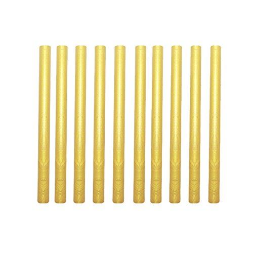 Sealing Wax Sticks,10 Pieces Flexible Glue Gun Sealing Wax for Retro Vintage Invitations Envelope Letter (Gold)