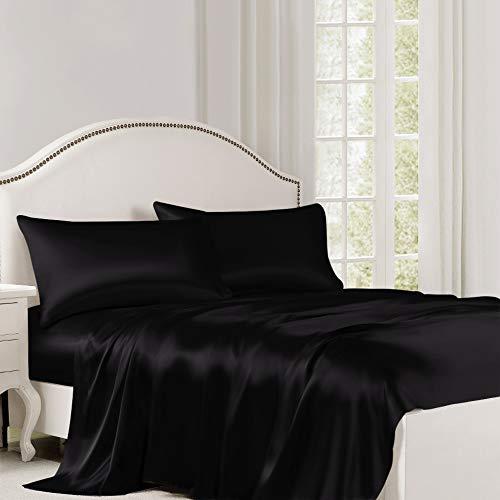 ElleSilk Pure Silk Flat Sheet, Silk Sheet, Premium Quality 100% Mulberry Silk, 22 Momme, Naturally Hypoallergenic, Full/Double Size, Black