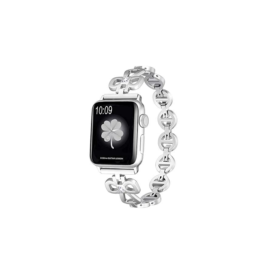 Secbolt Clover Link Bands Compatible Apple Watch Band 38mm 40mm iWatch Series 4, Series 3, Series 2, Series 1, Stainless Steel Shamrock Link with Diamond Women Girls, 4 Colors Available