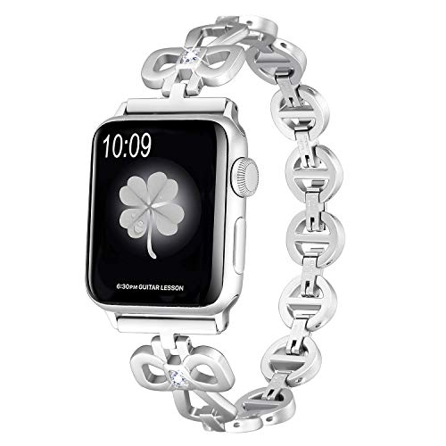 Secbolt Stainless Steel Bands Compatible Apple Watch Band 38mm 40mm iWatch Series 4, Series 3, Series 2, Series 1, Shamrock Link with Diamond Women Girls, Silver