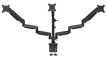 """Monoprice Triple Monitor Gas Spring Mount for up to 32"""" Screens, Fully Adjustable Center Mount high-Strength Steel and Aluminum Structural Components - Workstream Collection"""