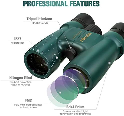 10×42 Roof Prism Binoculars for Adults, HD Professional Binoculars for Bird Watching Travel Stargazing Hunting Concerts Sports-BAK4 Prism FMC Lens-with Phone Mount Strap Carrying Bag Green