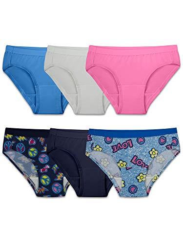 - Fruit of the Loom Girls' Microfiber Underwear Multipack, Hipster - Assorted (6 Pack), 10