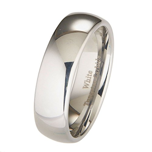 (MJ Metals Jewelry 7mm White Tungsten Carbide Polished Classic Wedding Ring Band Size 6.5)