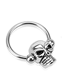 14 Gauge Stainless Steel Skull Captive Bead Ring Daith Cartilage Earring