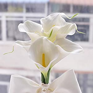 Anself Hand Made Real Touch Calla Lily Bouquet with Artificial Pearl and Lace Ribbon Wedding Decoration Supplies for Bridesmaid 89