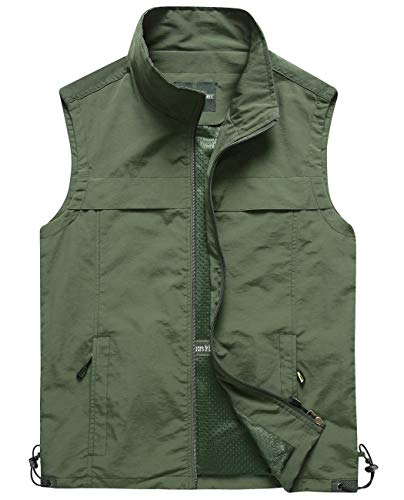Hixiaohe Men's Lightweight Outdoor Work Fishing Photo Travel Hiking Vest Gilet (03 Army Green, L)