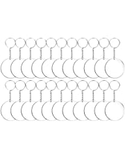 EXCEART 24 قطعة جولة الاكريليك سلسلة المفاتيح الفراغات الاكريليك سلسلة مفاتيح DIY (شفافة)
