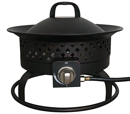 Aurora 18.5-Inch Steel Gas Firebowl, Rubbed Bronze