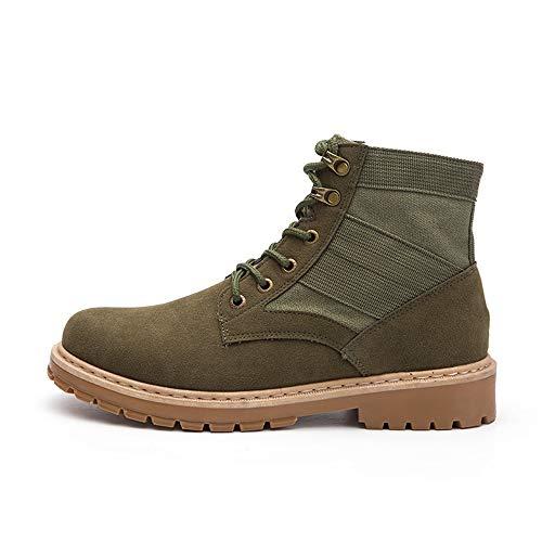 Nero Uomo Caviglia Classico Casual E Alte Da Stringate Puro Colore Eu Scarpe Lavoro color Rubebr Green boots Army Outsole Semplice Alla Moda Yajie Stivale 43 Dimensione XqzzfR