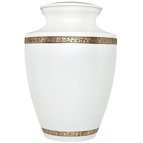 (Pearl White Funeral Urn by Liliane - Cremation Urn for Human Ashes - Hand Made in Brass - Suitable for Cemetery Burial or Niche - Large Size fits Remains of Adults up to 200 lbs - Leblanc Model)