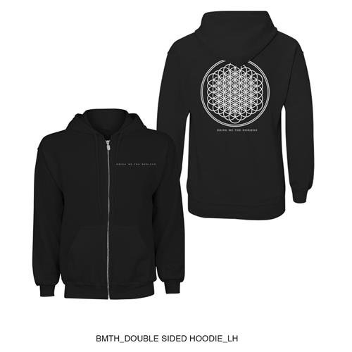 Bring Me The Horizon Men's Flower of Life Zippered Hooded Sweatshirt Black ROCK OFF