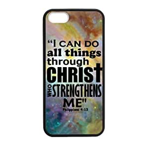 iPhone 5 5S Case Cover - I Can Do All Things Through Christ Who Strengthens Me - Philippians 4:13 - Bible Verse iPhone 5 5S TPU (Laser Technology) Case Rubber Sides Shell