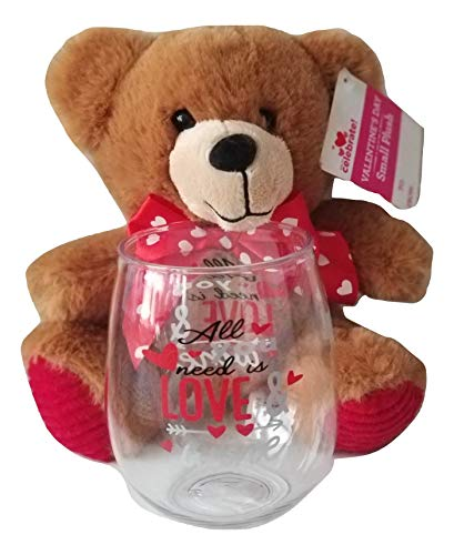 All You Need Is Love & Wine Stemless Wine Glass with Brown 8
