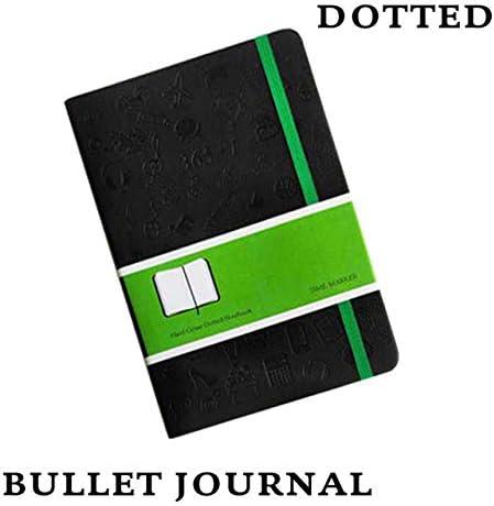 MKDLB Notizbuch Dot Grid Business GeschenkjournalKreatives Cortex Briefpapier Gepunkteter Planer Notizbuch Reisetagebuch Bujo Planer, Schwarz, 145x210mm gepunktet