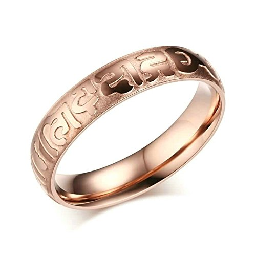 KnSam Women Wedding Bands Stainless Steel Six Words Mantra Rose Gold Size (Words Created From The Word Halloween)