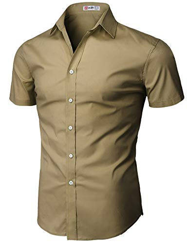 H2H Men's Casual Cotton Linen Short Sleeve Shirts Beige US M/Asia L - Shirt Beige Casual