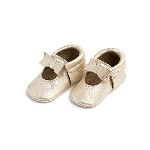 Freshly Picked - Soft Sole Leather Ballet Flat Bow Moccasins - Baby Girl Shoes - Size 1 Platinum Gold