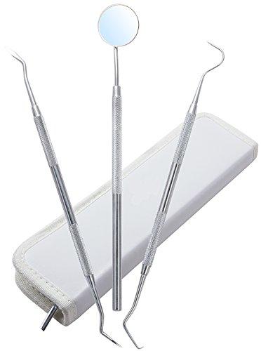 Kit hygiène dentaire PharMeDoc cas - outils de la trousse d'outils de dentiste de Grade professionnel - doux acier dents nettoyage Set pour dents blanches et des gencives saines - tartare suppression - miroir dentaire et Scaler Set