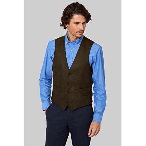 Moss 1851 Men's Dark Brown Suit Vest Waistcoat new - officeinstall