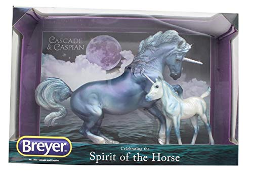 Breyer Traditional Series Cascade and Caspian 2 Unicorn Set Horse Toy Models 1 9 Scale Model 1818