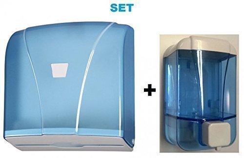 Set - Papierhandtuchspender + Seifenspender - Kunststoff - Blau