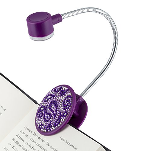 WITHit Loop Clip On Book Light - Sparkle Paisley - Reading Light with Clip for Books and eBooks, Reduced Glare, Portable and Lightweight, Cute Bookmark Light for Kids and Adults, Batteries Included (Purple Book Light)