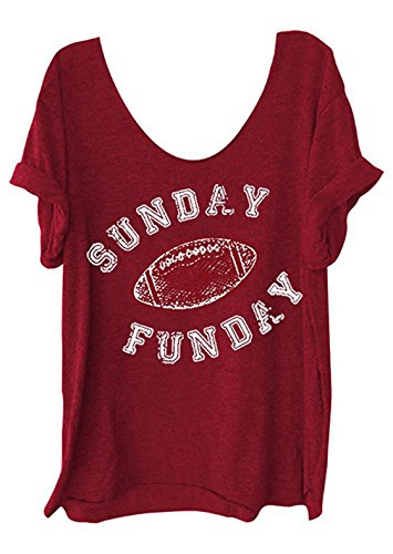 Women Funny Letter Printed Off Shoulder Sunday Funday Football T-Shirt Casual Short Sleeve Blouse (US XS/Tag S, Red) by NATAY (Image #1)