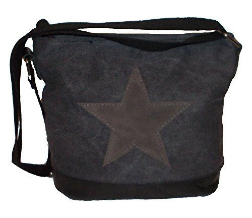 angesagte, topaktuelle Tasche, Teenagertasche, Umhängetasche mit Stern schwarz